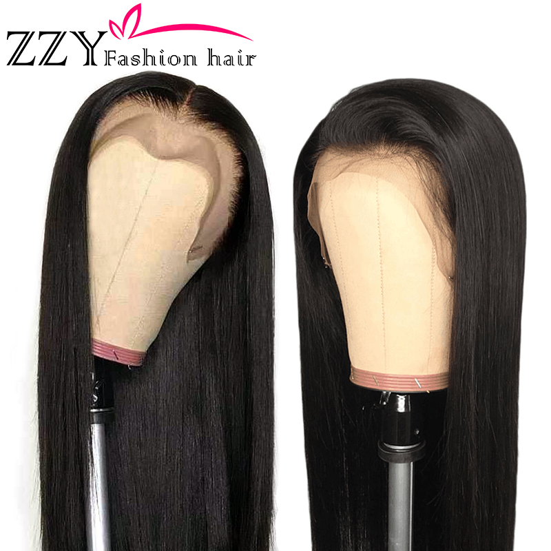 ZZY Fashion Peruvian Straight Lace Front Human Hair Wigs 150% Density 13x4 Lace Front Wig Non-remy Pre Plucked With Baby Hair