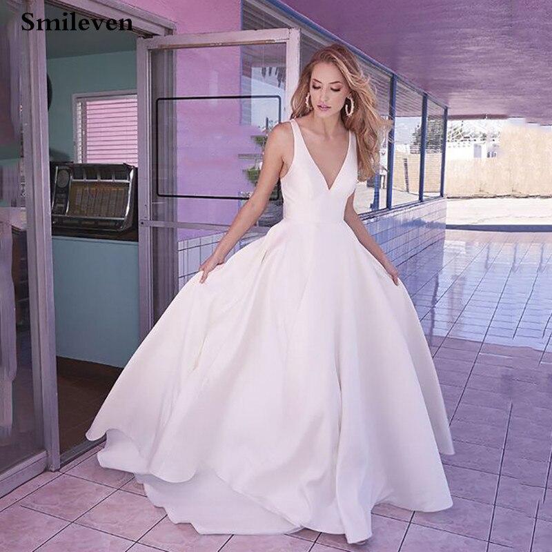 Smileven Boho Wedding Dresses A Line Bow Back Sexy V Neck Beach Bride Dresses Train Elegant Wedding Boho Bridal Gowns
