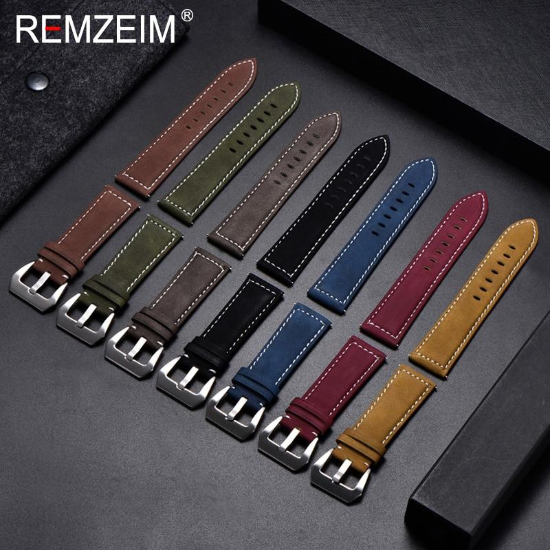 Remzeim novo preto marrom azul vermelho retro couro fosco pulseiras de relógio 18 20 22 24mm pulseira de couro fivela aço inoxidável