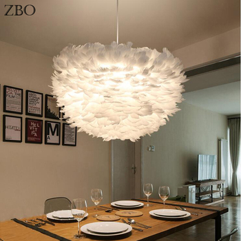 Modern Pendant Lights White/Gary Nature Goose Feather Loft E27 LED  Cable 1.5M For Home Bedroom Living Room Indoor Lighting