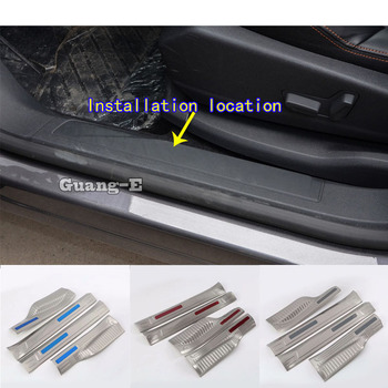 Car Stainless Steel Pedal Door Sill Scuff Plate Inner Built Threshold 4pcs For Peugeot 3008 GT 3008GT 2016 2017 2018 2019 2020