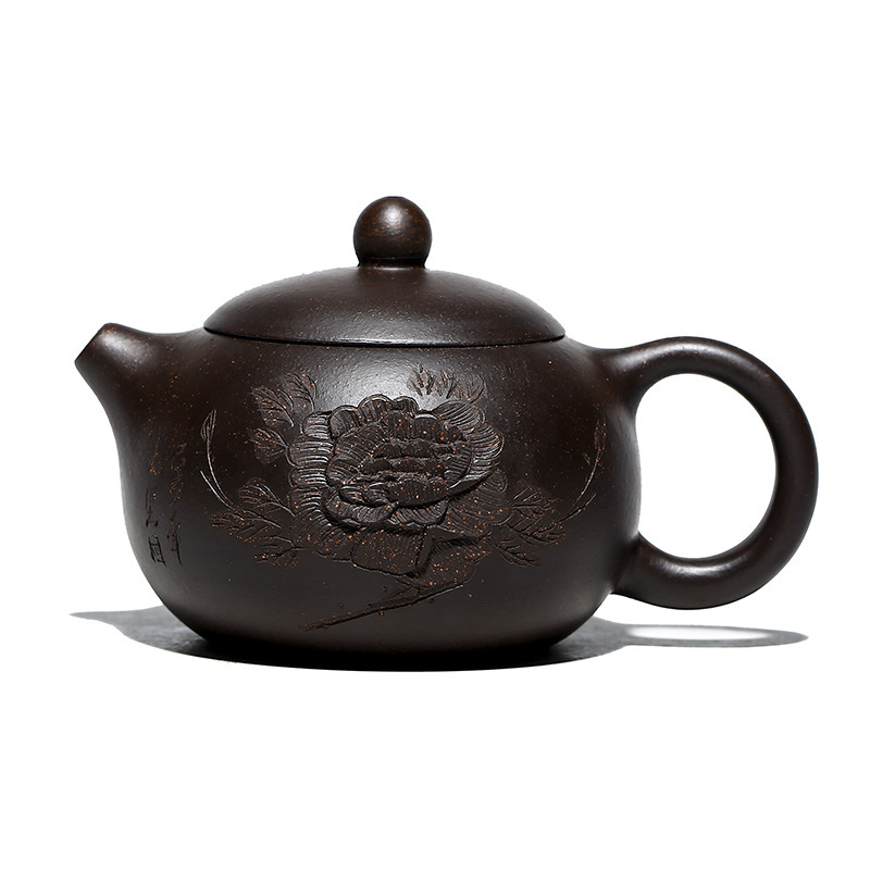 Mud Black Xishi Teapot Purple Clay Carving Peony Pot With Ball Hole