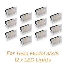 12 stücke Led lampen Kit Für Tesla Modell Y Modell 3 Modell S Modell X LED Innen Licht Helle einfach Stecker Ersatz Upgrade