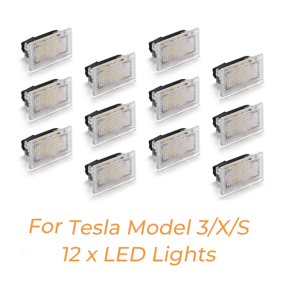12pcs Bright Easy Plug Replacement LED Interior Lighting Upgrade LED Light Bulbs Kit For Tesla Model 3 Model S Model X