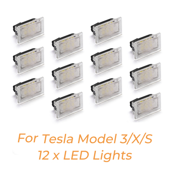 12pcs LED Light Bulbs Kit For Tesla Model Y Model 3 Model S Model X LED Interior Light Bright Easy Plug Replacement Upgrade