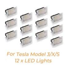 Juego de 12 Uds de bombillas LED para Tesla, modelo Y 3, Modelo S, luz LED Interior brillante, fácil enchufe, actualización de repuesto