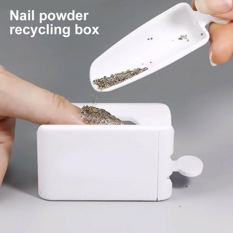 Portable Dipping Powder Magic Mirror Powder Recycling Tray White Nail Sequin Glitter Storage Box Nail Powder Recycling Box(China)