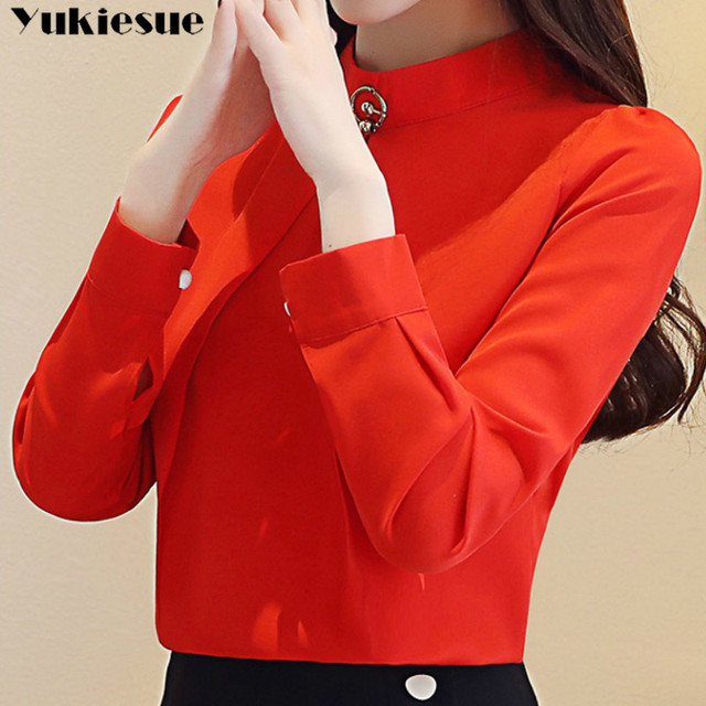 fashion woman blouses 2020 long sleeve chiffon blouse shirt long sleeve women shirts womens tops and blouses blusas femininas 3