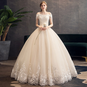 Image 2 - Klasyczny szampan 2019 nowa suknia ślubna elegancka łódka szyi Off The Shoulder koronkowe koralikowe frędzelki Slim Ball suknia Robe De Mariee