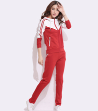 Autumn Lady Two piece Hoodies +Pants Women Sporting Suit Patchwork Leisure Sportwear Women Clothes Sets S 4XL