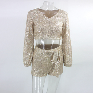 Image 4 - Ceremokiss Sequin Outfits Two Piece Set Women Sparkle Glitter V Neck Crop Top Shorts Autumn Sexy Bandage Puff Sleeve Club Sets