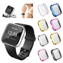 Electroplate Soft TPU Protector Case Cover For Fitbit versa Lite Smart Watch Soft silicone full Protection Cover Hot sell(China)