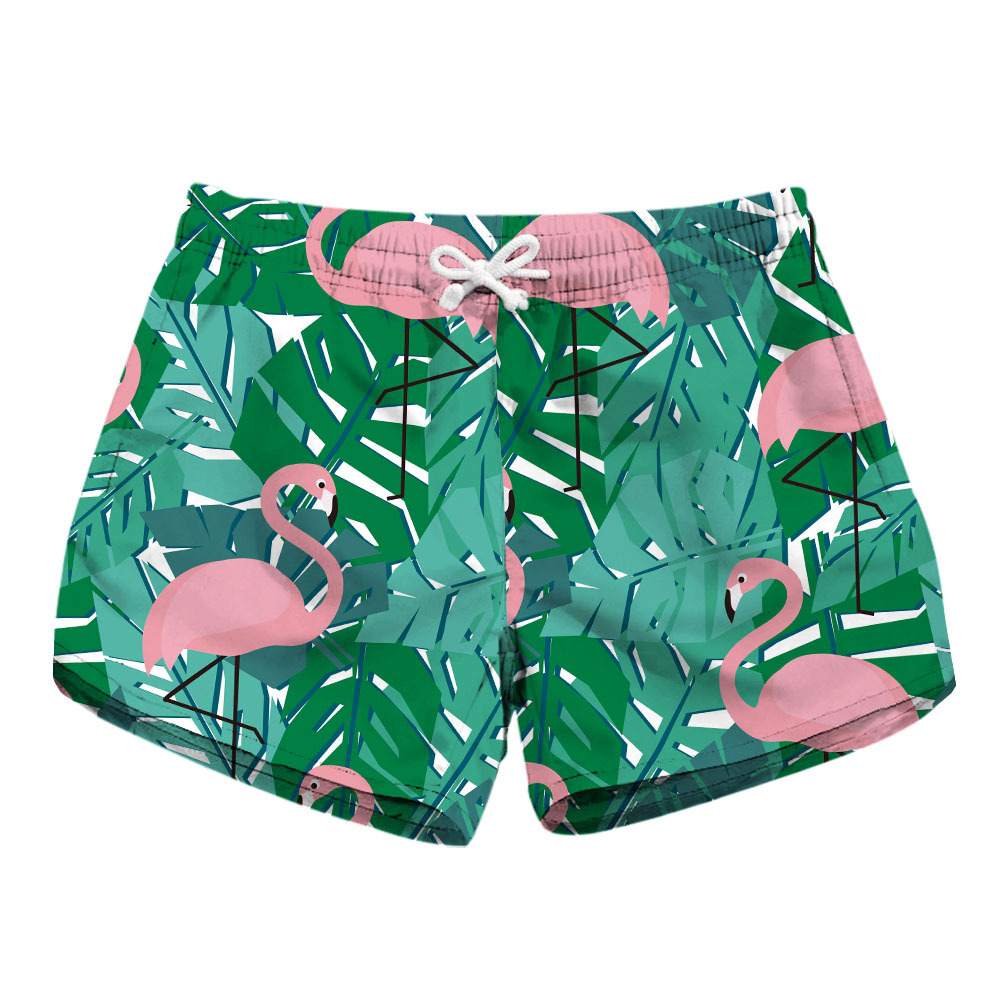 Digital Printing Lady Quick-dry Shorts Red-crowned Crane Two-side Pocket Casual Shorts