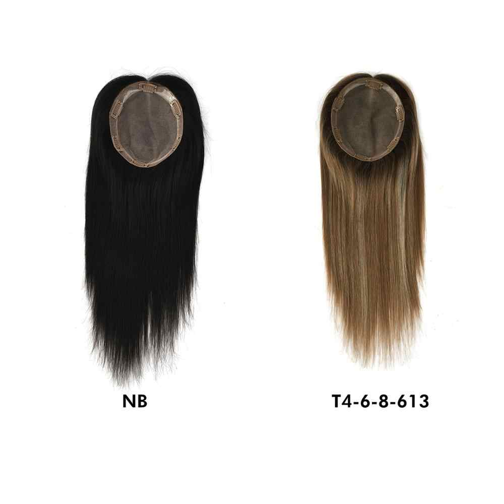 K.S peruki 14 ''15X17cm z pierwszego tłoczenia skórek Remy ludzki włos peruka na czubek głowy 150% gęstość Silk baza z włosy clip in peruka dla kobiet