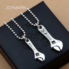 925 Sterling Silver Fashion Jewelry Skull Spanner Pendants For Couple Punk Style Retro Thai Wrench Pendant TSP261