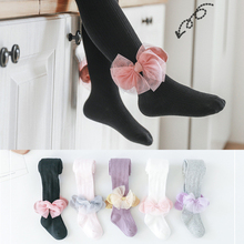 YWHUANSEN 1 to 6 Yrs Big Lace Bowknot Children Pantyhose Double Needle Girls Tights Spring Summer Cotton Tights For Princess