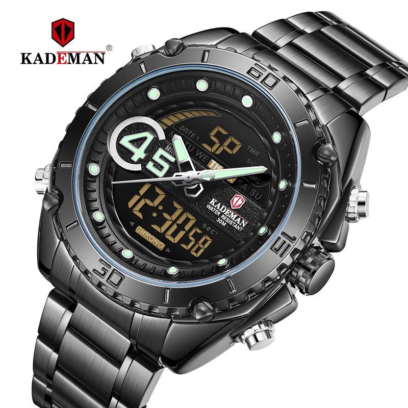 Kademan 2020 New Sports Watch Presonal Dual Display And Multifuntion Watch Man Steel  Black Light Waterproof K9054