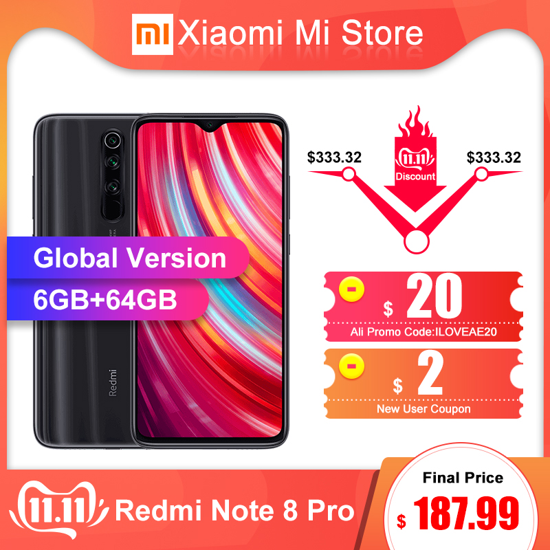 "Global Version Xiaomi Redmi Note 8 Pro 6GB 64GB Smartphone 64MP Quad Camera 6.53"" Helio G90T Octa Core 4500mAh Battery NFC"