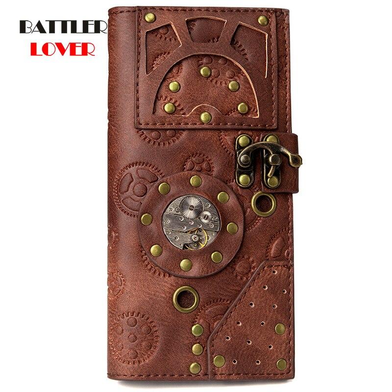 Steampunk Female Long Printed Gear Movement Wallet Leather Womens Buckle Rivet Coins Purse European Card Holder Mobile Phone Bag
