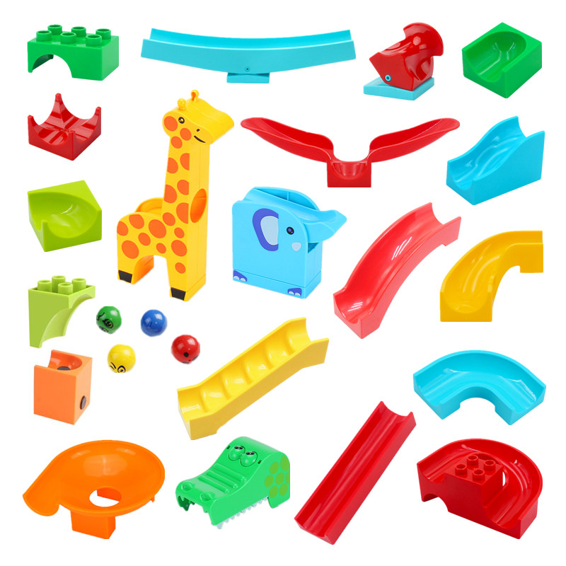 Crazy Marble Race Run Track Blocks Running Ball System Maze Games Building Blocks Parts Compatible DIY Toys