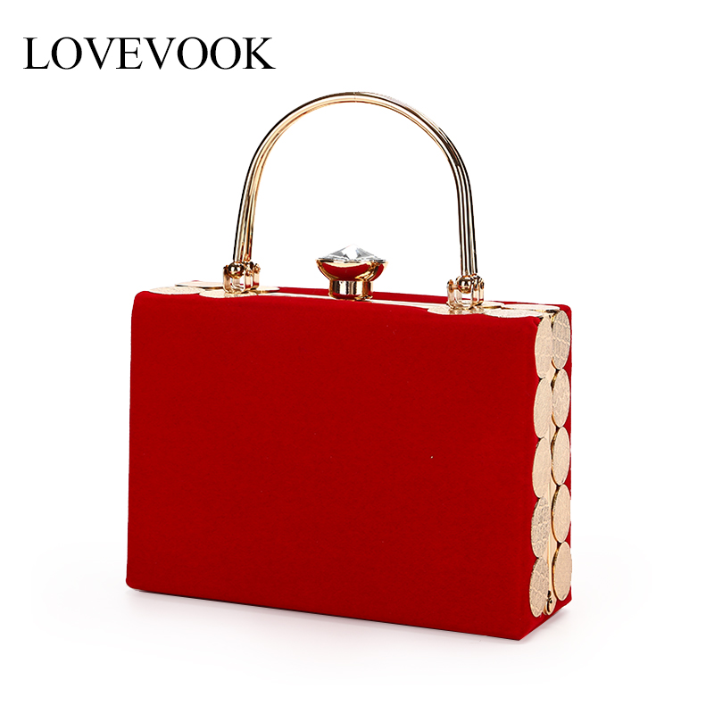 LOVEVOOK women evening clutch luxury handbag women bags design box evening bag with top-handle purse and clutch elegant velvet