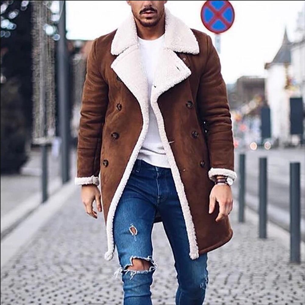 Fashion Men Faux Fur Lambswool Trench Coat Winter Warm Thicken Jacket Woolen Peacoat Long Parka Overcoat Tops