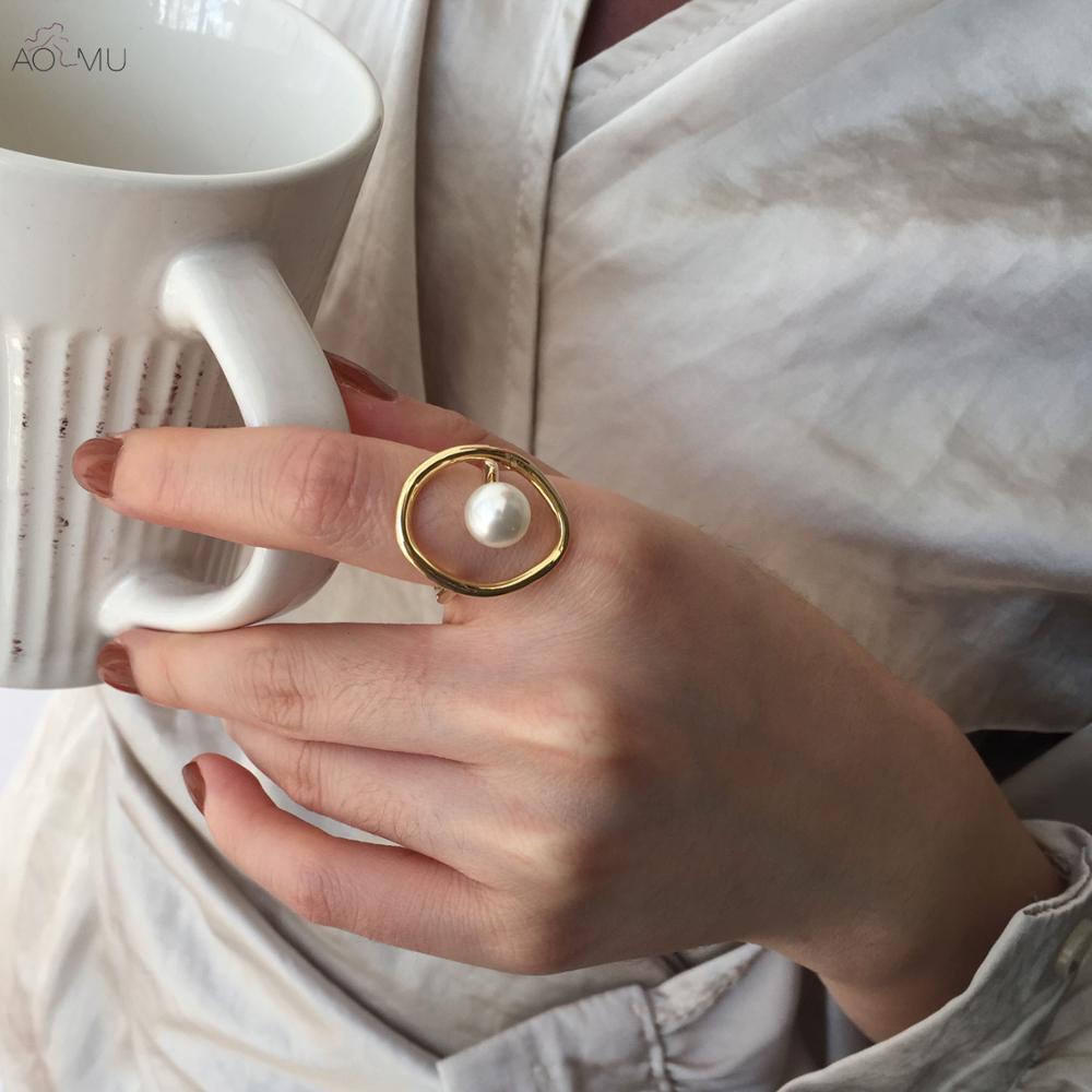 Женское металлическое кольцо AOMU, геометрическое круглое кольцо с имитацией жемчуга