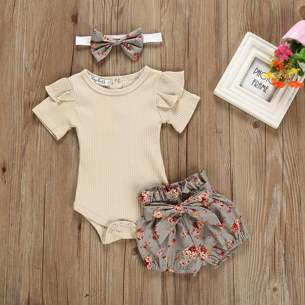 2019 New Baby Girl Solid Color Tops Clothing Newborn Kids Baby Girls Outfits Clothes Romper Bodysuit+Flower Printed Shorts Set