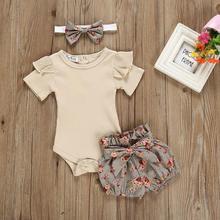 Новинка года; однотонные топы для маленьких девочек Одежда для новорожденных; одежда для маленьких девочек Комбинезон; боди+ шорты с цветочным принтом; комплект