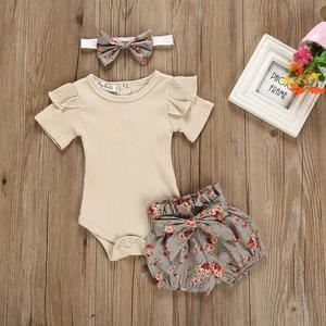 2019 new baby girl Solid Color Tops Clothing Newborn Kids Baby Girls Outfits Clothes Romper Bodysuit+Flower Printed Shorts Set(China)