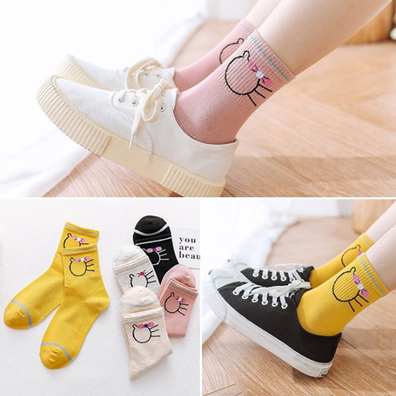10 Paris Socks Women's Spring And Summer College Style Cute Ladies Cotton Socks Cartoon In  Letters Girls Tall Female