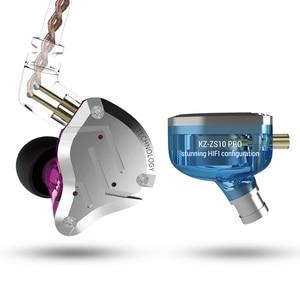 Image 4 - KZ ZS10 PRO 1DD 4BA HIFI cuffie In metallo ibrido In Ear auricolare Sport cuffie con cancellazione del rumore ZSN PRO ZST AS12 AS16 ES4 V80 T2 S2