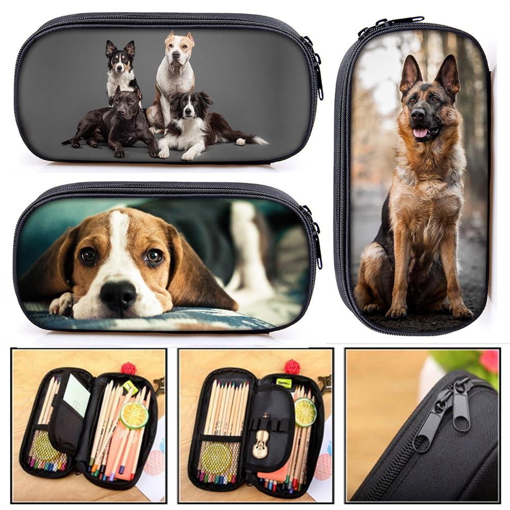 Dog Beagle German Shepherd Rottweiler Cosmetic Cases Pencil Bag Women Makeup Bags Teenager Girls Pencil Box School Case Supplies