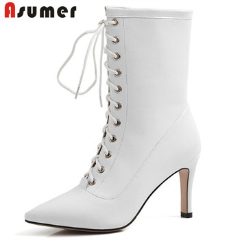 ASUMER 2020 new arrival ankle boots women full genuine leather thin high heel dress party shoes ladies autumn short boots woman