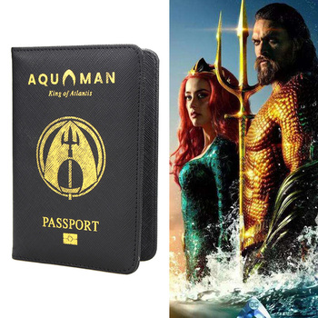 цена на DC Aquaman Passport Cover RFID Blocking Black Fashion King of Atlantis Passport Case Multipurpose Travel Passport Holder Wallet