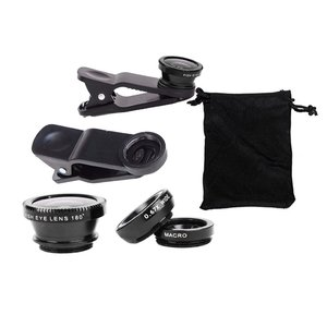 3-in-1 Wide Angle Macro Fisheye Lens Camera Kits Mobile Phone Fish Eye Lenses with Clip 0.65x for iPhone Samsung All Cell Phones