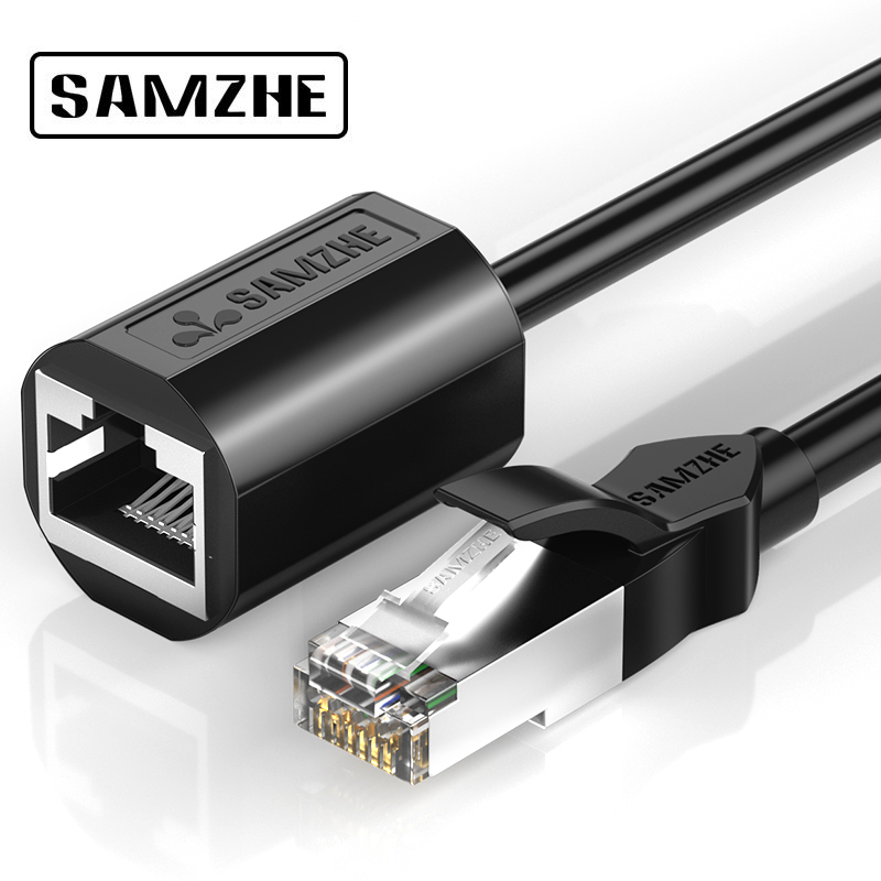 SAMZHE RJ45 Ethernet Extension Cable Adapter  CAT 6 Network Extension Patch Cords Shielded Compatible With CAT 5 CAT 5E CAT 6