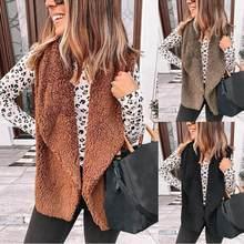 Gilet Polaire Femme mode femmes décontracté peluche Cardigan Gilet grand revers manteau d'extérieur Gilet Sans Manche Chaleco Invierno Mujer
