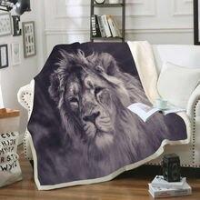 3d одеяло из бархата с цифровым принтом в виде льва Двухслойное