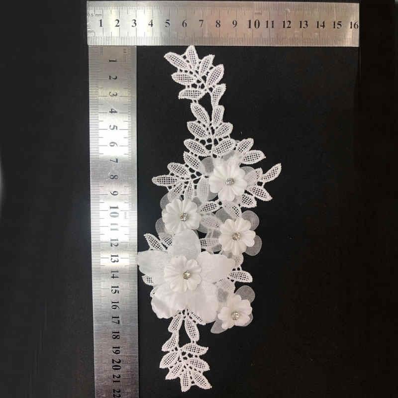 3D Fiore Floreale Del Merletto Del Ricamo di Applique Trim Per La Sera Vestiti del Pannello Esterno Del Merletto Del Collare Della Decorazione di Patch Cucire Sugli Accessori