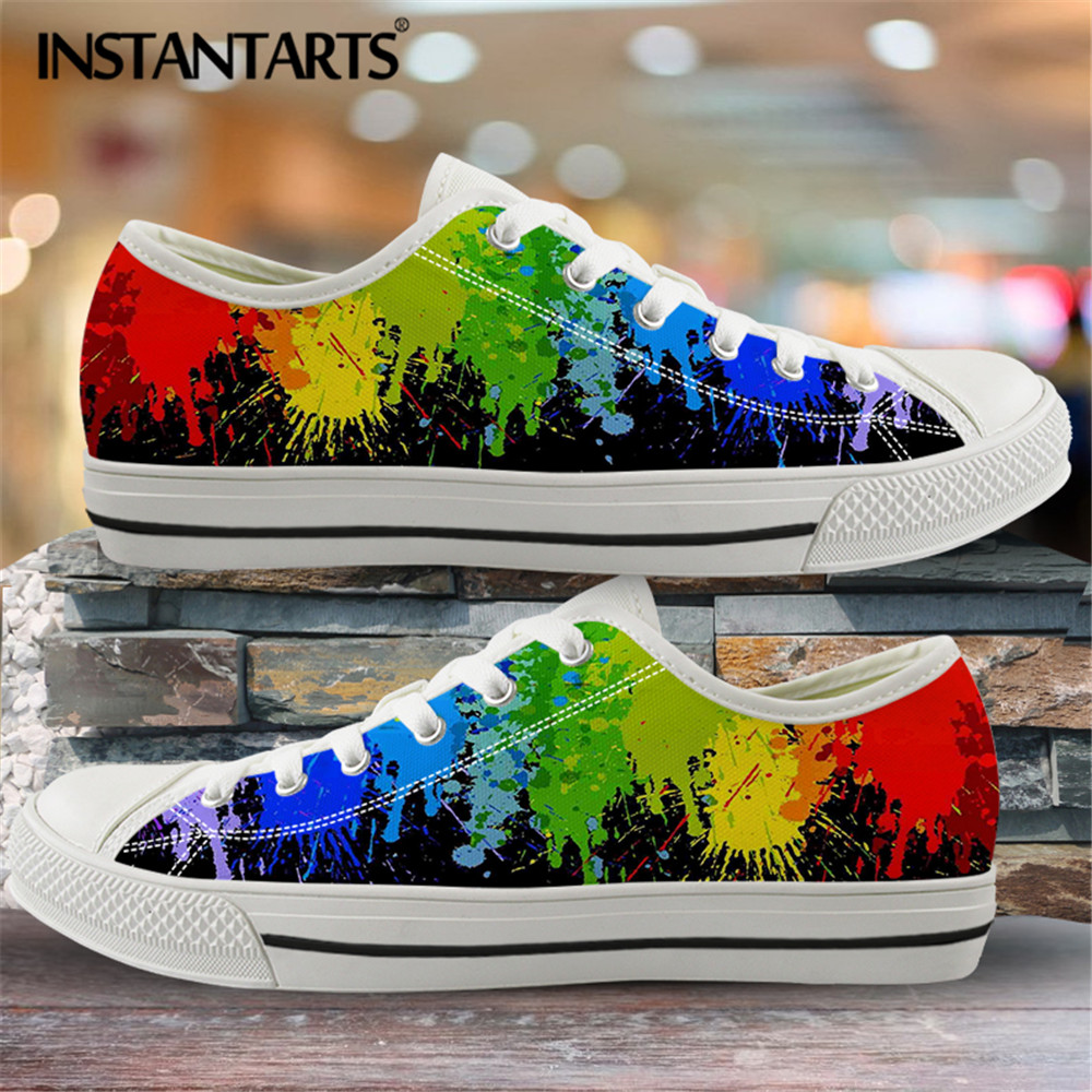 INSTANTARTS Classic Low Top Canvas Shoes Vulcanized Sneakers Colorful Rainbow Print Pride Ladies Flats Shoes Women Zapatillas 9