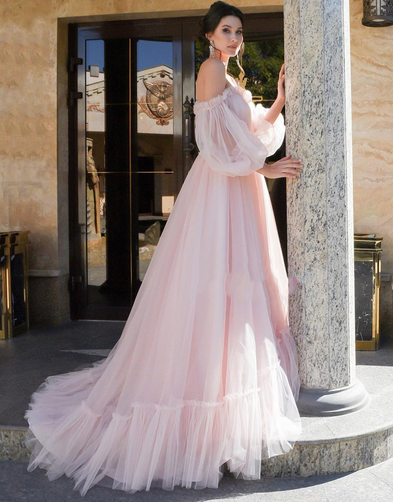 New Arrival Pink Evening Dresses Long 2020 A Line V Neck Puff Sleeve Formal Occasion Arab Party Women Prom Dresses