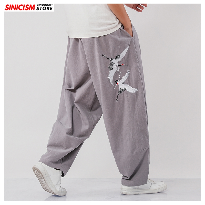 Sinicism Store Men Vinatge Mens Wide Leg Pant2020 Oversize Pants Trousers Male Embroidery Chinese Style Summer Stright Pants