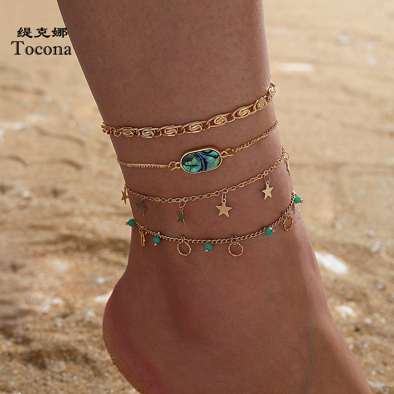 Tocona 4pcs/sets Charm Star Tassel Anklets for Women Color Rhinestone Hollow Geometric Bead Foot Chain Jewelry Gift 14035