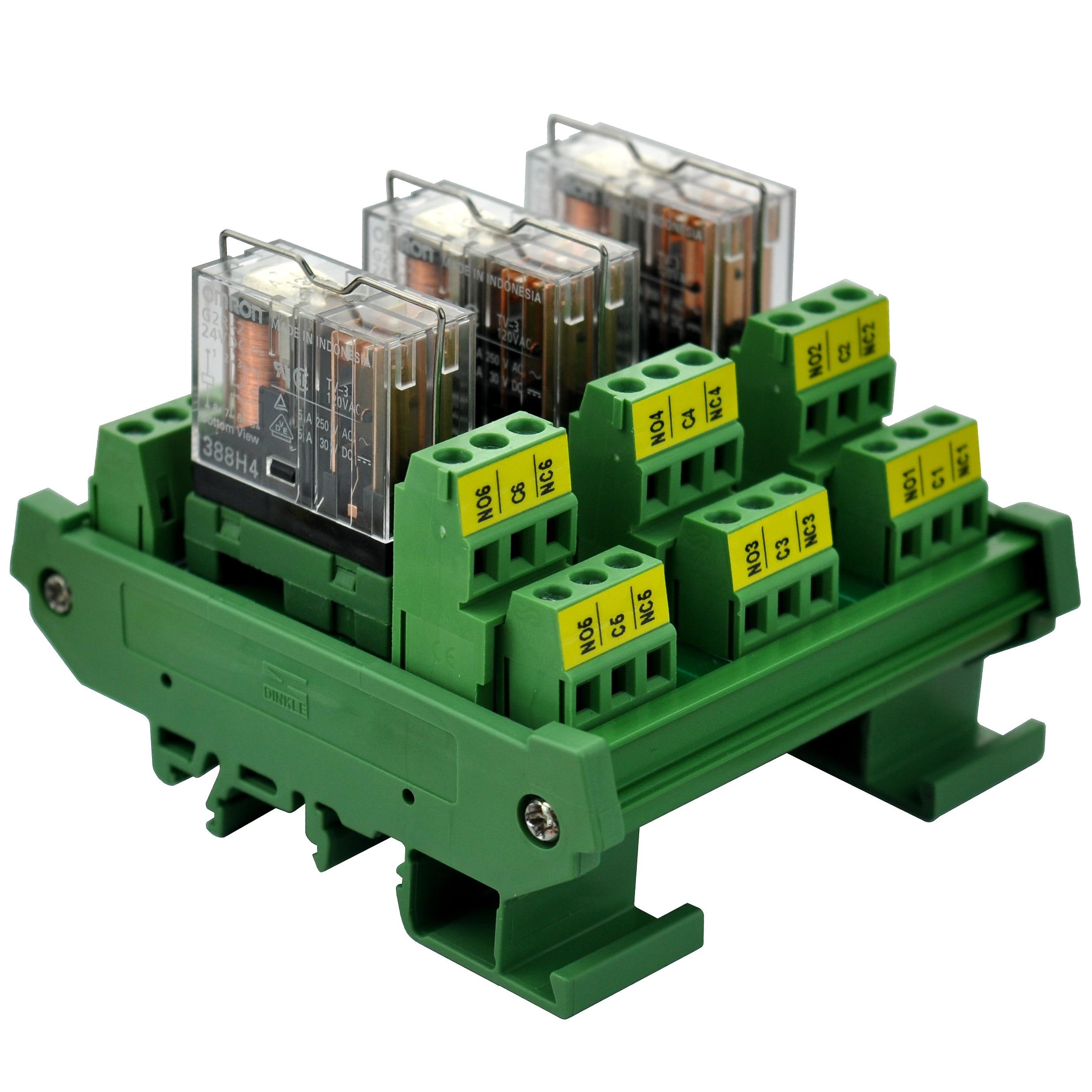 ELECTRONICS-SALON DIN Rail Mount AC/DC 24Control 3 DPDT 5Amp Pluggable Power Relay Interface Module.
