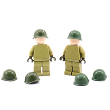 WW2 Military Soviet Army Soldier Figures Helmet Building Blocks toy Russia fittings MOC toys For Children