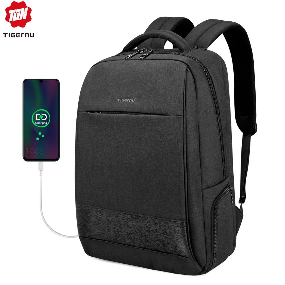 Tigernu male 15.6 laptop backpack usb charging backpacks men slim splashproof anti theft school backpack bag women fashion