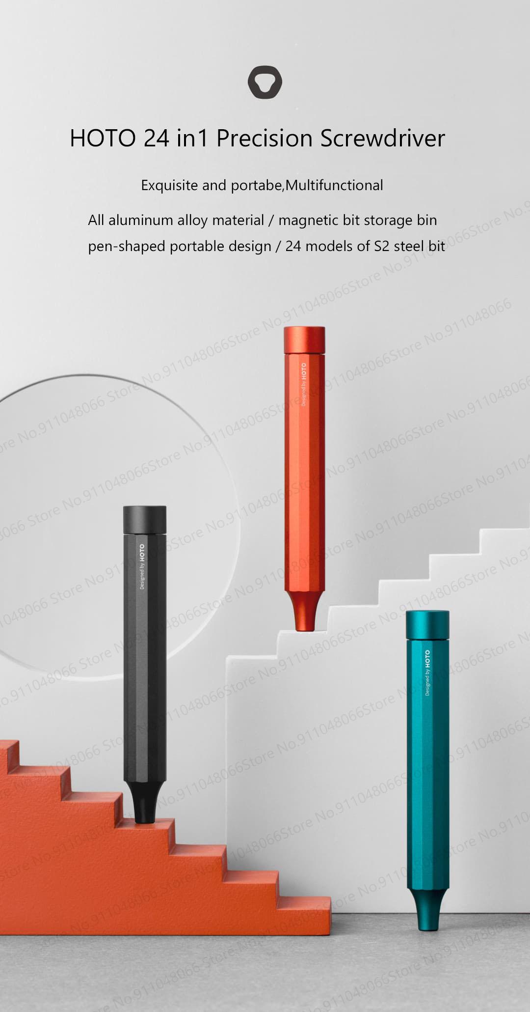 Pen Shape Screwdriver Dark Turquoise HOTO Screwdriver Sets 24-in-1 Mini Screwdriver Set Precision Screwdriver Set with 24 pcs Tough S2 Alloy Steel Bits