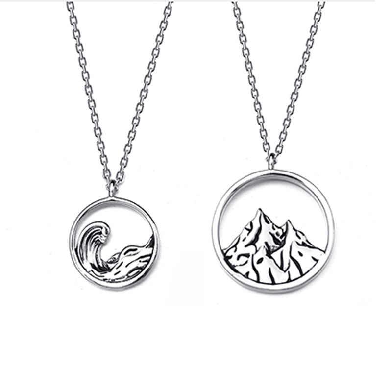 W stylu Vintage srebrny góry wody morskiej para naszyjniki 925 Hollow dekoracje geometria naszyjnik dla chłopca i dziewczynki przyjaciel prezenty
