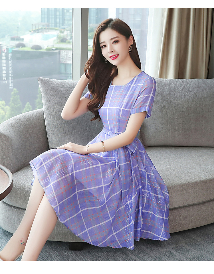 US $16.48 24% OFF|Summer Plaid Party Women Purple Dress Plus Size Elegant  Office Lady Slim Korean Midi Runway 2020 Vestido Korean New Arrivals-in ...